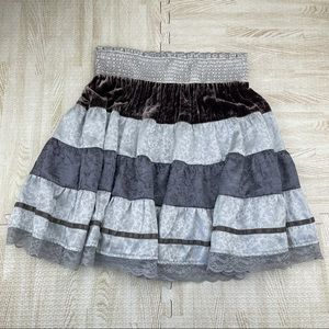 Free People Silver Silk Blend lace Skirt